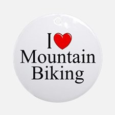 """I Love (Heart) Mountain Biking"" Ornament (Round)"