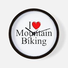 """""""I Love (Heart) Mountain Biking"""" Wall Clock"""