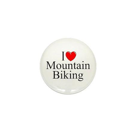 """""""I Love (Heart) Mountain Biking"""" Mini Button"""