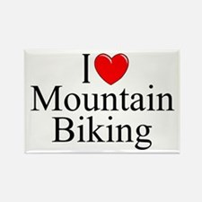 """I Love (Heart) Mountain Biking"" Rectangle Magnet"