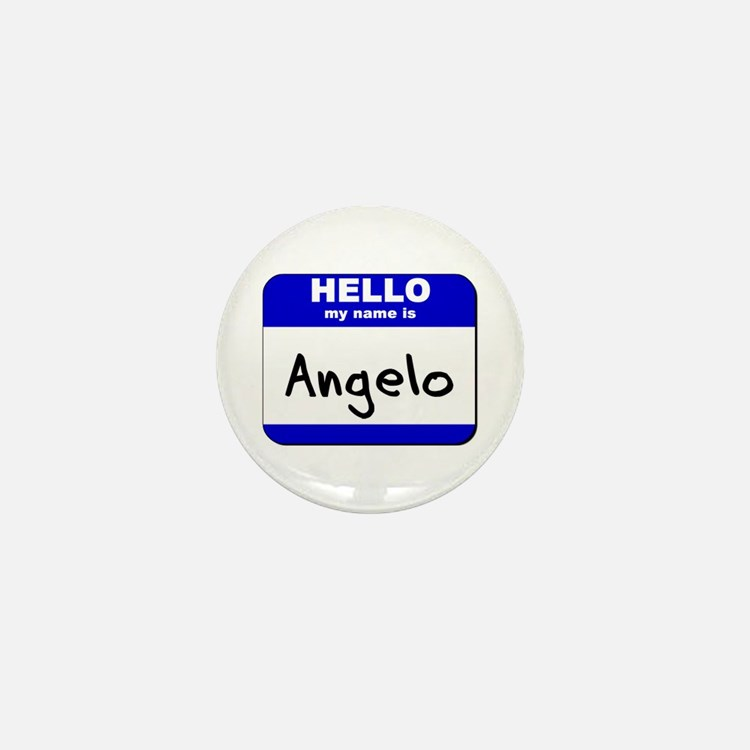 hello my name is angelo Mini Button