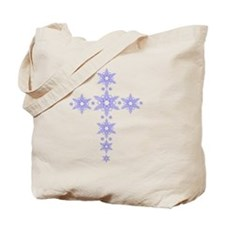 Blue Snowflake Cross Tote Bag