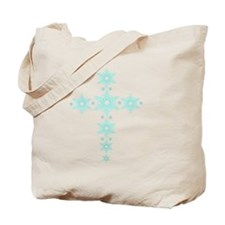Cyan Snowflake Cross Tote Bag