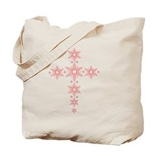Red Snowflake Cross Tote Bag