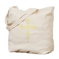 Yellow Snowflake Cross Tote Bag