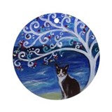 Tuxedo cat tree of life Round Ornaments