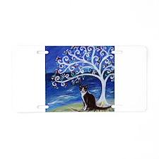 Tuxedo Cat Tree of Life Aluminum License Plate