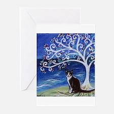 Tuxedo Cat Tree of Life Greeting Cards