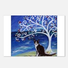 Tuxedo Cat Tree of Life Postcards (Package of 8)