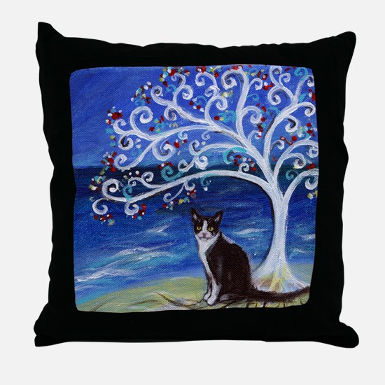 Tuxedo Cat Tree of Life Throw Pillow