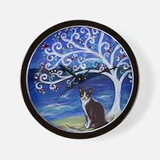 Tuxedo Cat Tree of Life Wall Clock