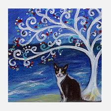 Tuxedo Cat Tree of Life Tile Coaster