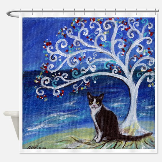 Tuxedo Cat Tree of Life Shower Curtain