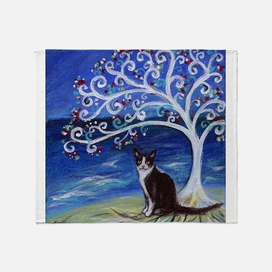 Tuxedo Cat Tree of Life Throw Blanket