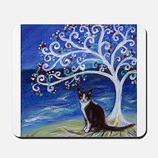 Tuxedo Cat Tree of Life Mousepad