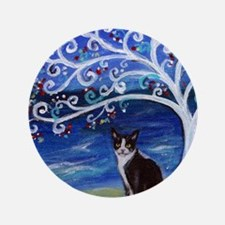 "Tuxedo Cat Tree of Life 3.5"" Button"