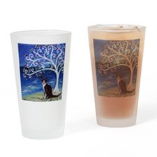 Tuxedo Cat Tree of Life Drinking Glass