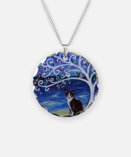 Tuxedo Cat Tree of Life Necklace