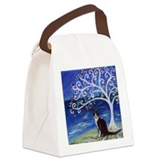 Tuxedo Cat Tree of Life Canvas Lunch Bag