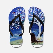 Tuxedo Cat Tree of Life Flip Flops