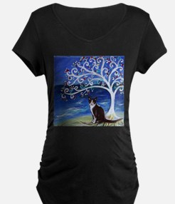 Tuxedo Cat Tree of Life Maternity T-Shirt