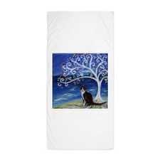 Tuxedo Cat Tree of Life Beach Towel