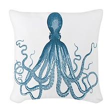 Blue Octopus Woven Throw Pillow
