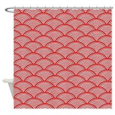 Japanese Wave Pattern Red And White Shower Curtain