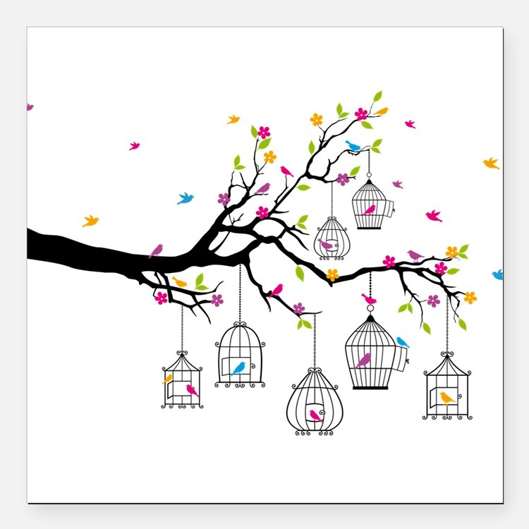 tree branch with birds and birdcages Square Car Ma