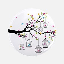 "tree branch with birds and birdcages 3.5"" Button"