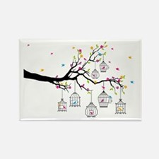 tree branch with birds and birdcages Magnets