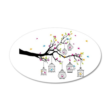 tree branch with birds and birdcages Wall Decal