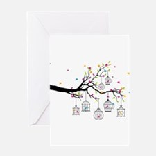 tree branch with birds and birdcages Greeting Card
