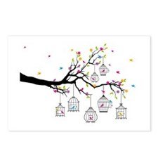 tree branch with birds and birdcages Postcards (Pa