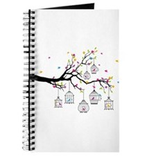 tree branch with birds and birdcages Journal