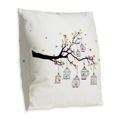 tree branch with birds and birdcages Burlap Throw