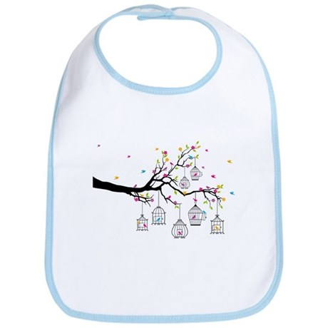 tree branch with birds and birdcages Bib