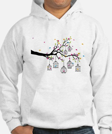 tree branch with birds and birdcages Hoodie