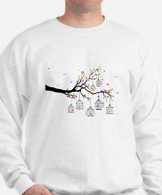 tree branch with birds and birdcages Jumper