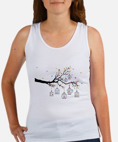 tree branch with birds and birdcages Tank Top