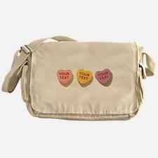 3 Candy Hearts CUSTOM TEXT Messenger Bag