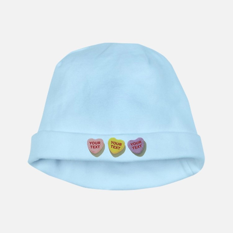 3 Candy Hearts CUSTOM TEXT baby hat