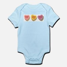 3 Candy Hearts CUSTOM TEXT Body Suit