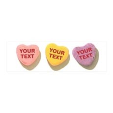 3 Candy Hearts CUSTOM TEXT Wall Decal