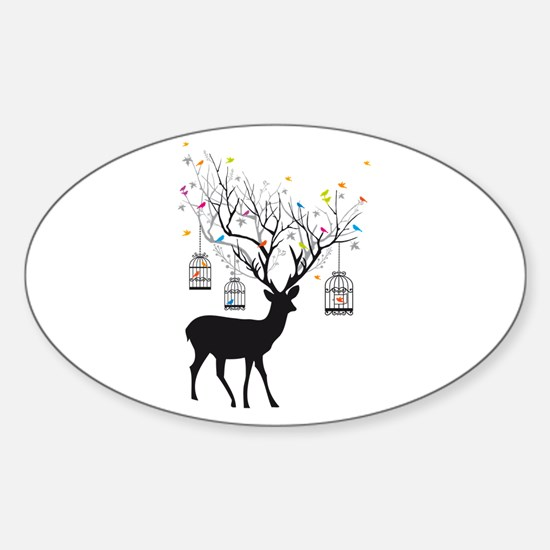 Deer with birds and birdcages Decal