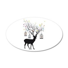 Deer with birds and birdcages Wall Decal