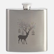 Deer with birds and birdcages Flask