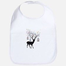 Deer with birds and birdcages Bib