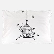 Free birds with open birdcage Pillow Case