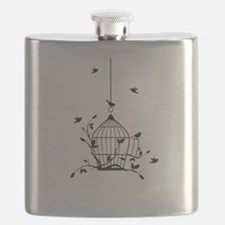 Free birds with open birdcage Flask